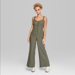 Wild Fable Green Casual Jumpsuit with Buttons, Sm